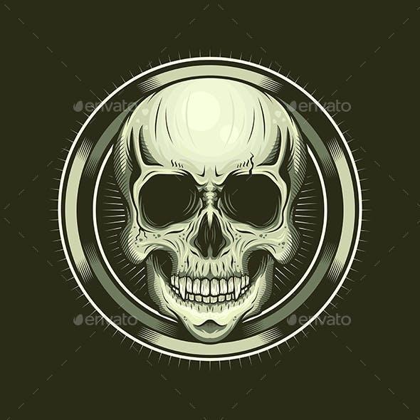 Illustration of Skull Head and Circle Realistic