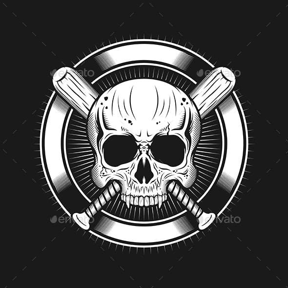 Skull Head with Circle and Baseball Bats Realistic
