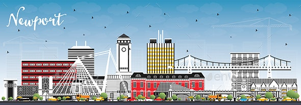 Newport Wales City Skyline with Color Buildings and Blue Sky. - Buildings Objects