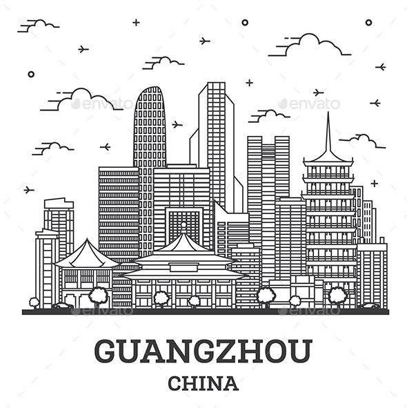 Outline Guangzhou China City Skyline with Modern Buildings Isolated on White. - Buildings Objects