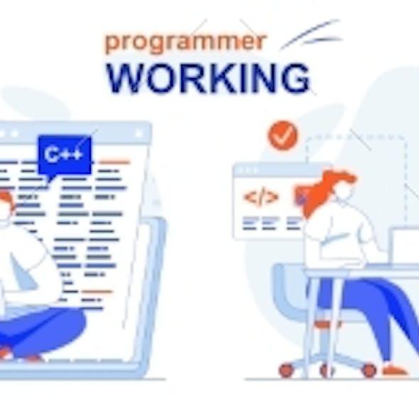 Programmer Working Web Concept Set