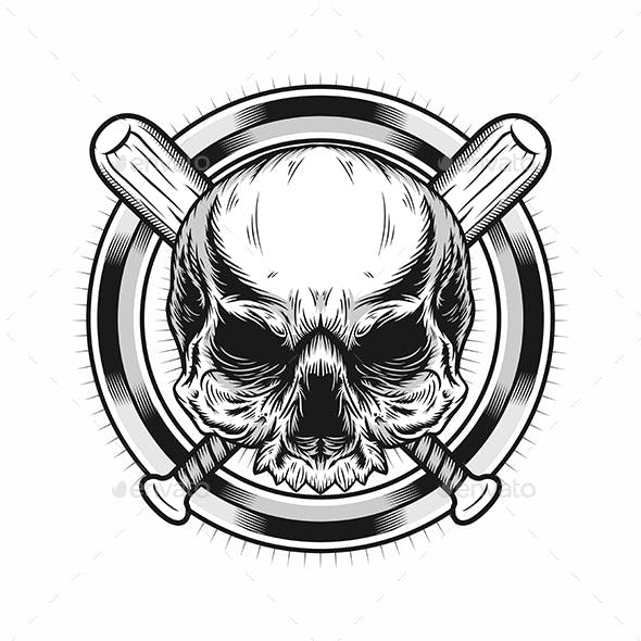 Illustration of Skull Head with Circle and Baseball Bats Realistic