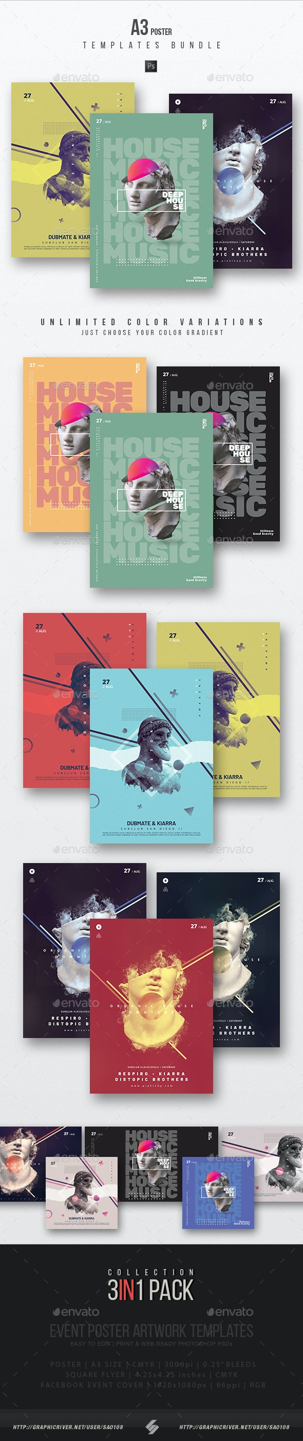 Creative Sound vol.11 – Party Flyer / Poster Templates Bundle - Clubs & Parties Events