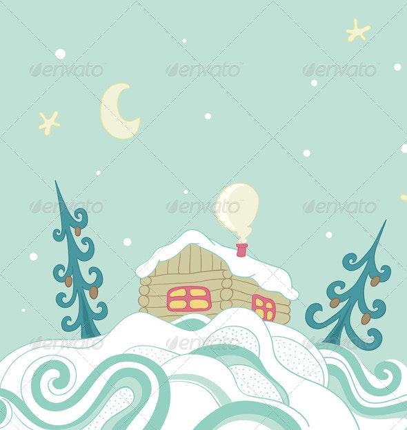 Christmas Background with House - Christmas Seasons/Holidays