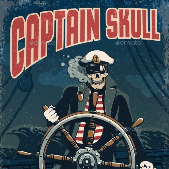 Skull Sea Captain at the Helm of the Ship