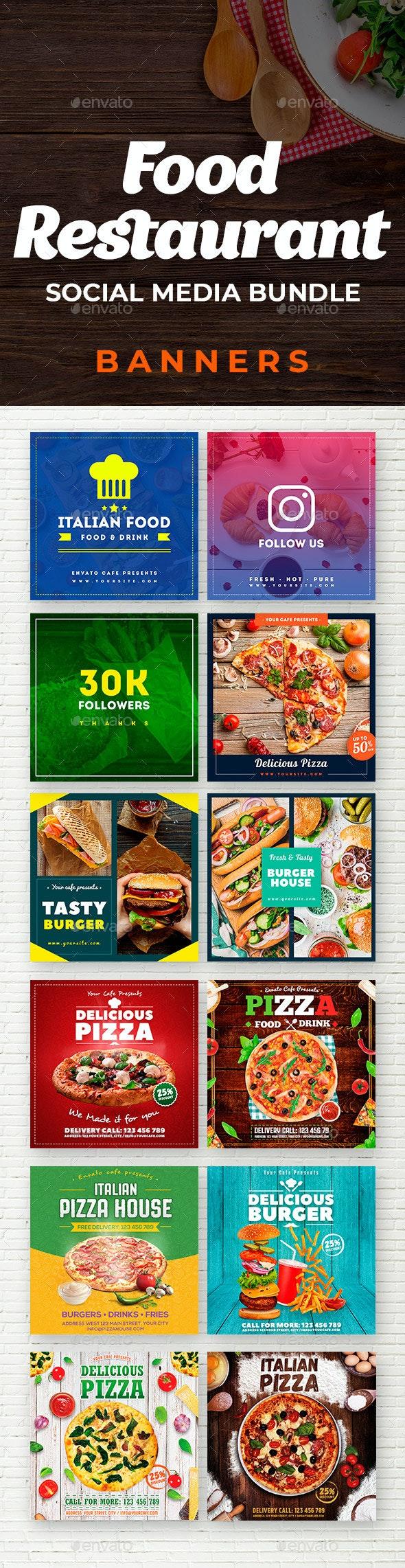 Food & Restaurant Social Media Banners Bundle - Social Media Web Elements