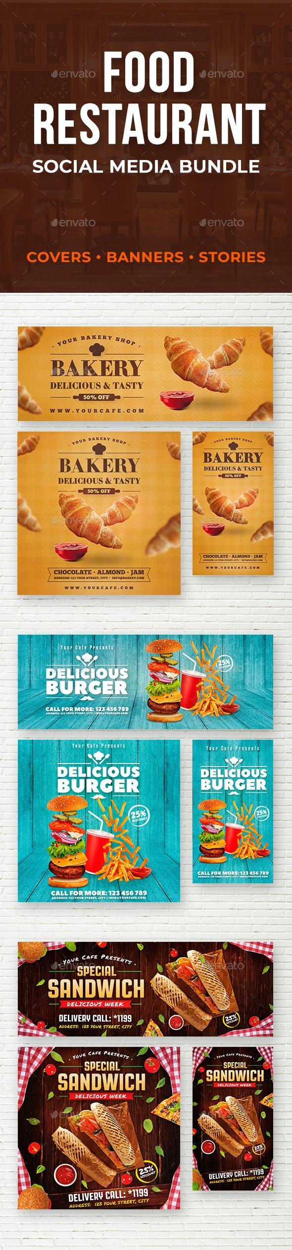 Food & Restaurant Social Media Bundle - Social Media Web Elements