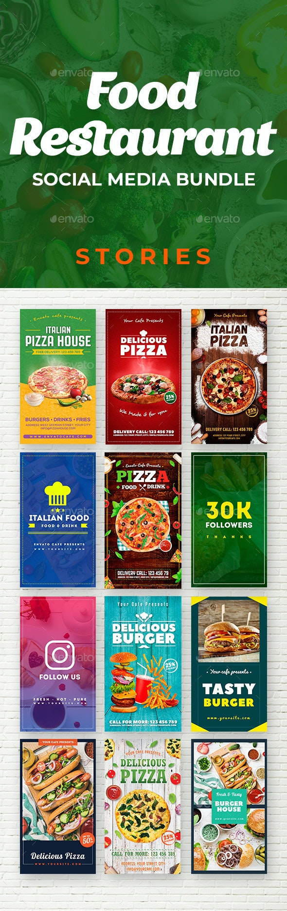 Food & Restaurant Social Media Stories Bundle - Social Media Web Elements