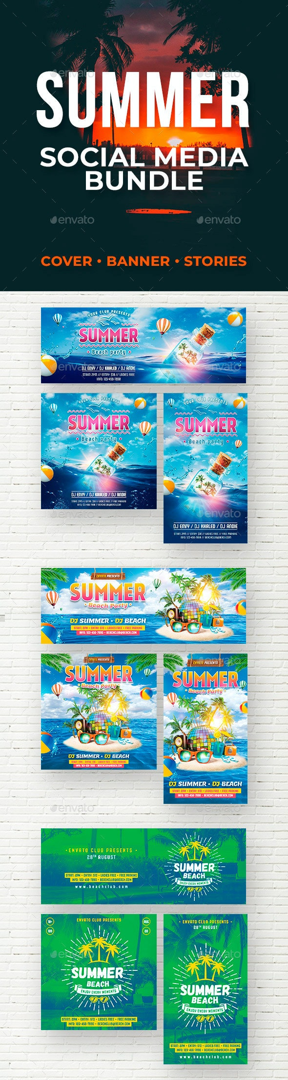 Summer Social Media Bundle - Social Media Web Elements