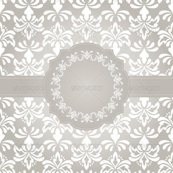 Vector Frame on Seamless Vintage Wallpaper Pattern - Patterns Decorative