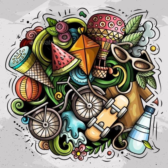 Summer Vector Doodles Illustration