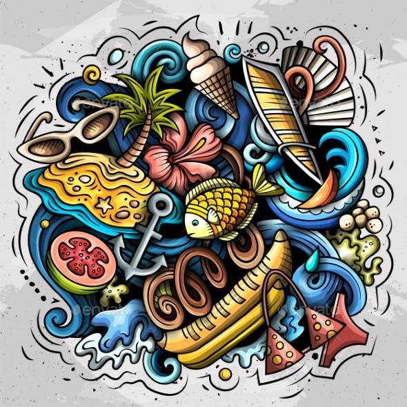 Summer Beach Vector Doodles Illustration