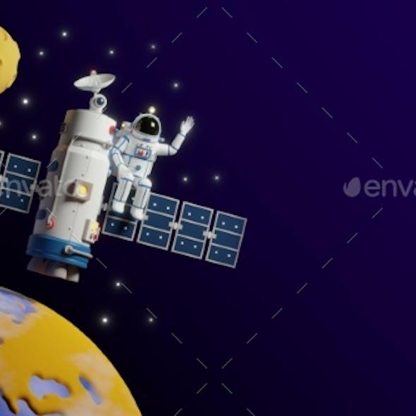 Astronaut Flies on Satellite Space Station Around