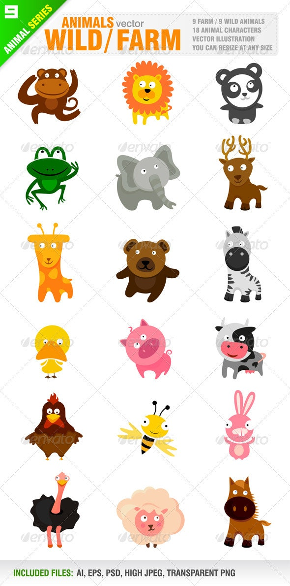 18 Cute Wild / Farm Animals - Animals Characters
