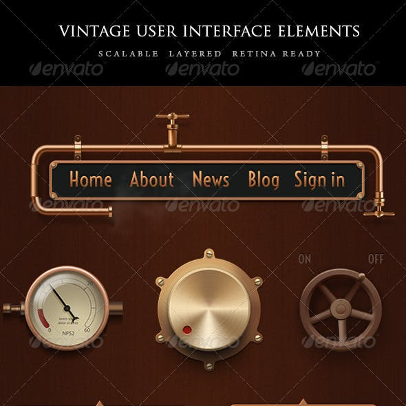 Vintage Steampunk UI Set