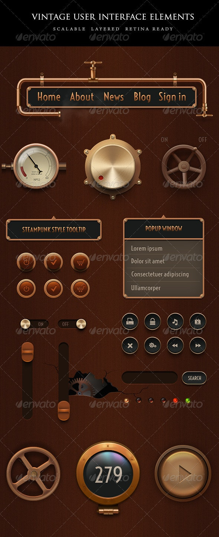 Vintage Steampunk UI Set - User Interfaces Web Elements