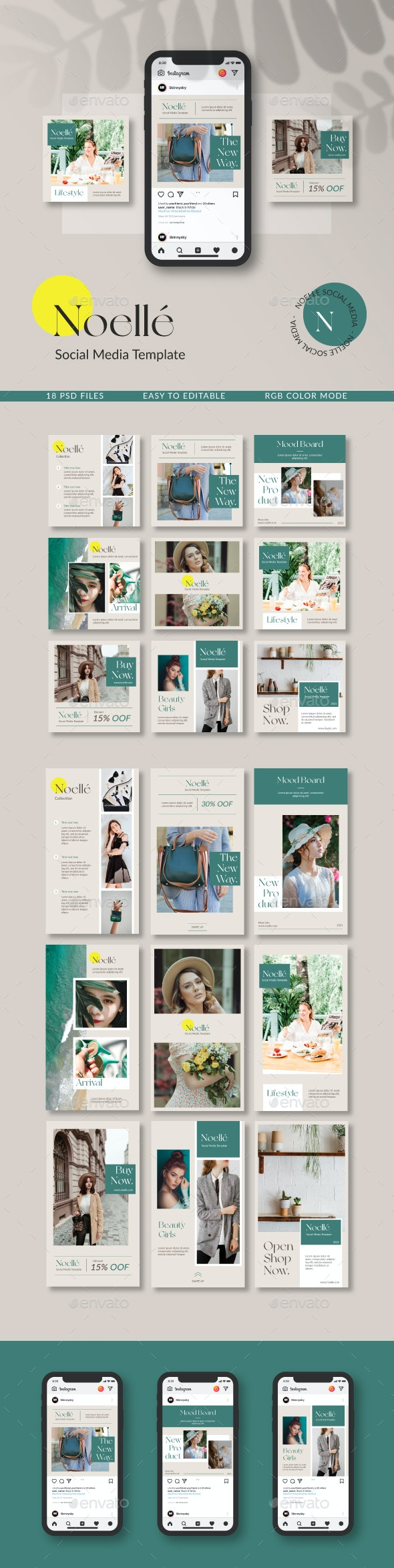 Noelle Social Media Template - Social Media Web Elements