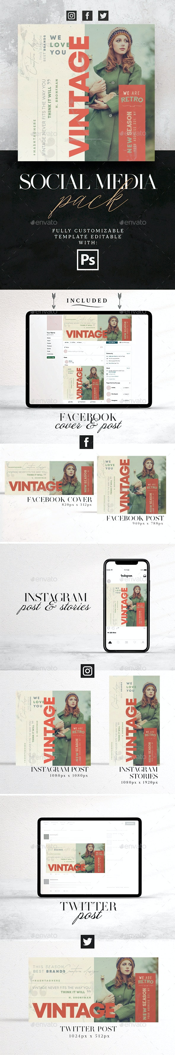 Vintage Social Media Pack - Social Media Web Elements