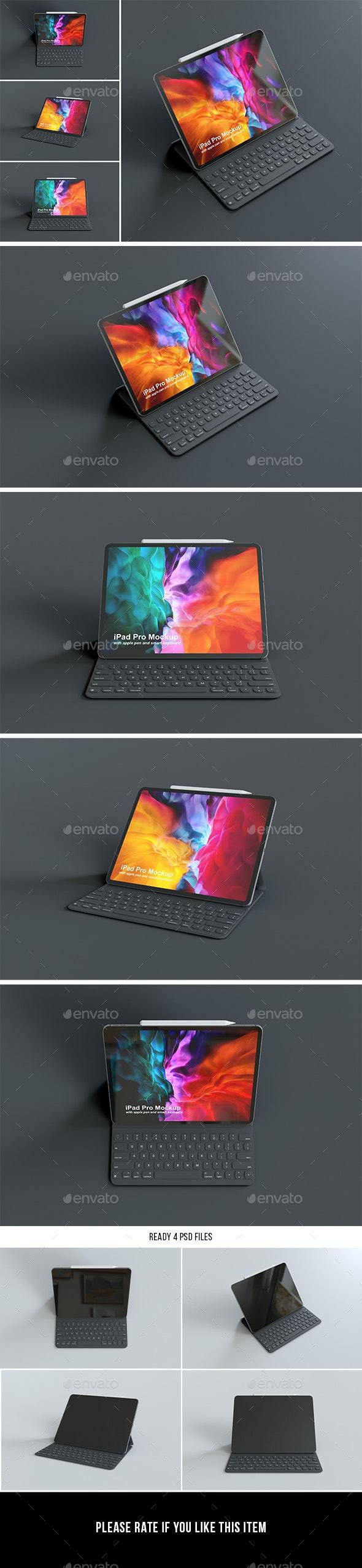 iPad Pro with Keyboard Mockup - Displays Product Mock-Ups
