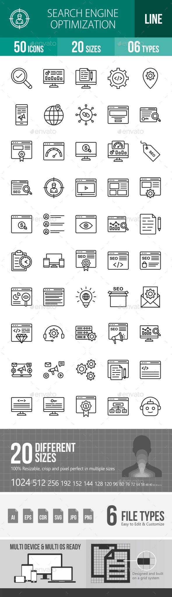Search Engine Optimization Line Icons - Icons