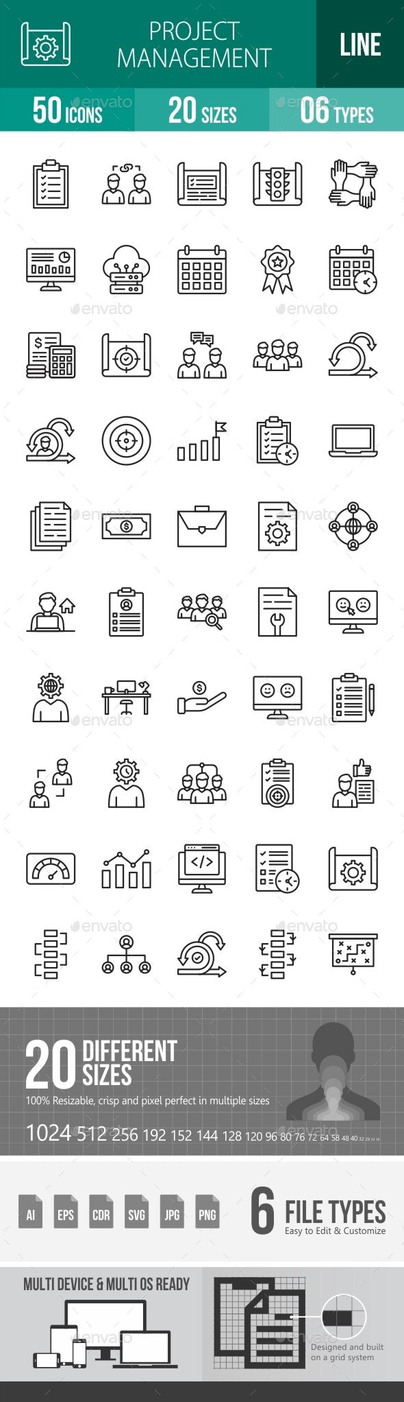 Project Management Line Icons - Icons