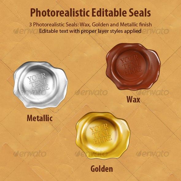 Editable Photorealistic Wax Seals