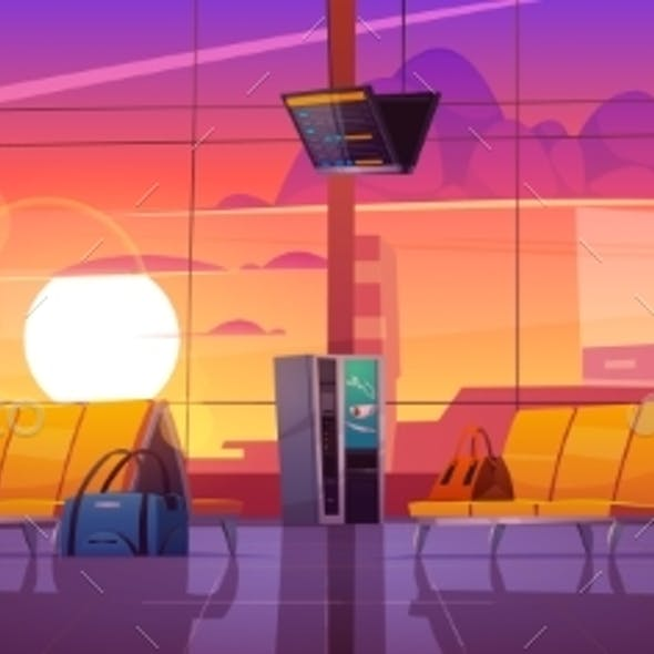 Airport Terminal with Luggage at Sunset