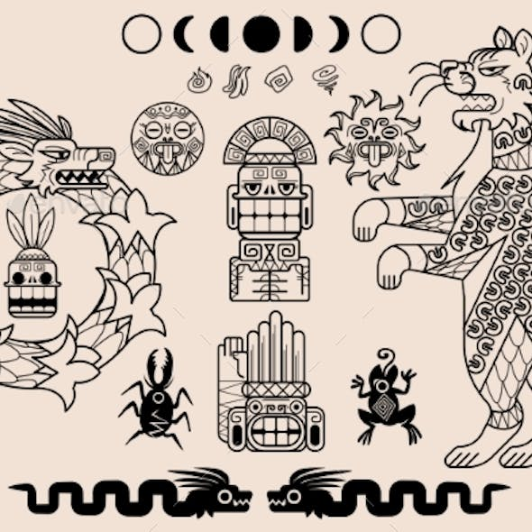 Aztec and Mayan Ornaments Ancient Mexican Pattern