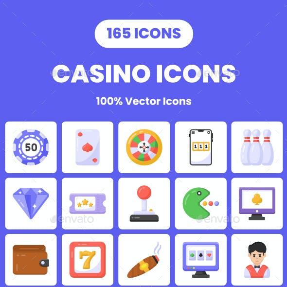 165 Flat Casino Icons