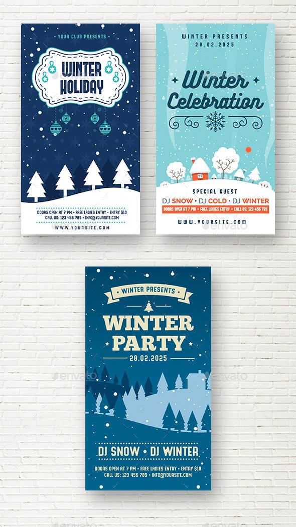 Winter Social Media Stories - Social Media Web Elements