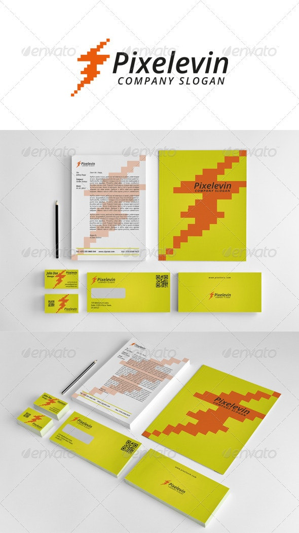 Corporate Stationery Pixel Levin - Stationery Print Templates