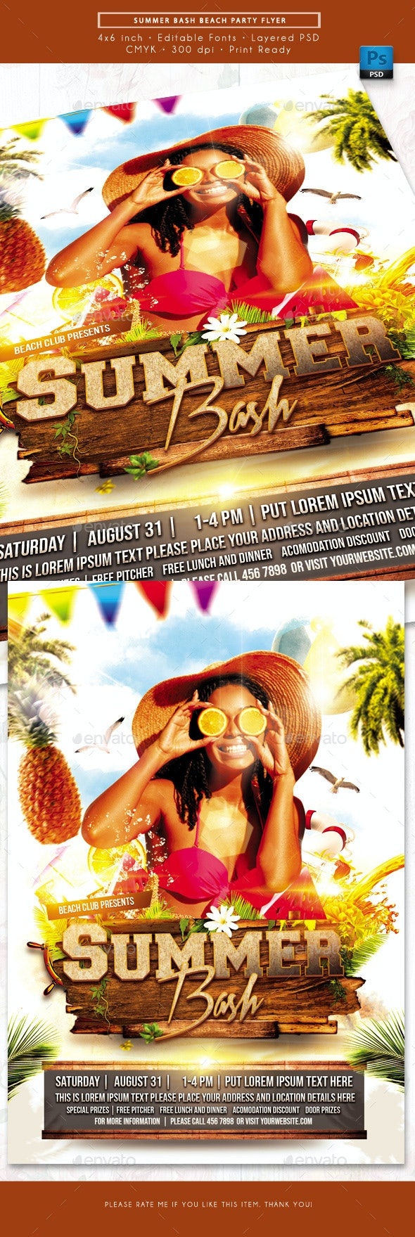 Summer Bash Beach Party Event Flyer - Events Flyers