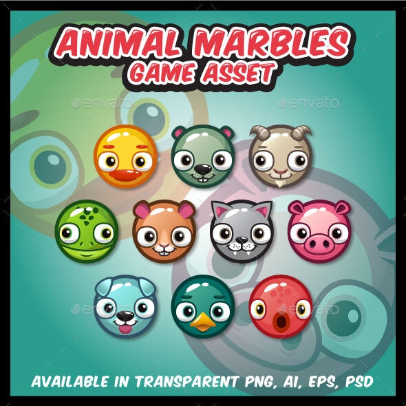 10 Animal Marbles Game Asset - Miscellaneous Game Assets