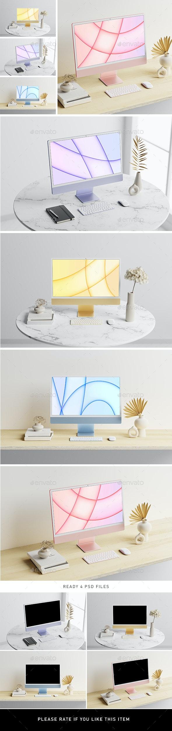 iMac M1 Responsive Mockup - Displays Product Mock-Ups
