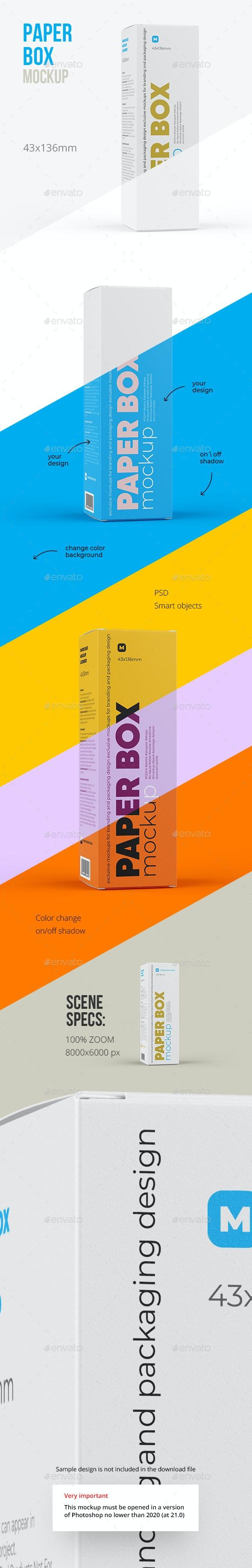 Paper Box Mockup 43x136mm - Packaging Product Mock-Ups