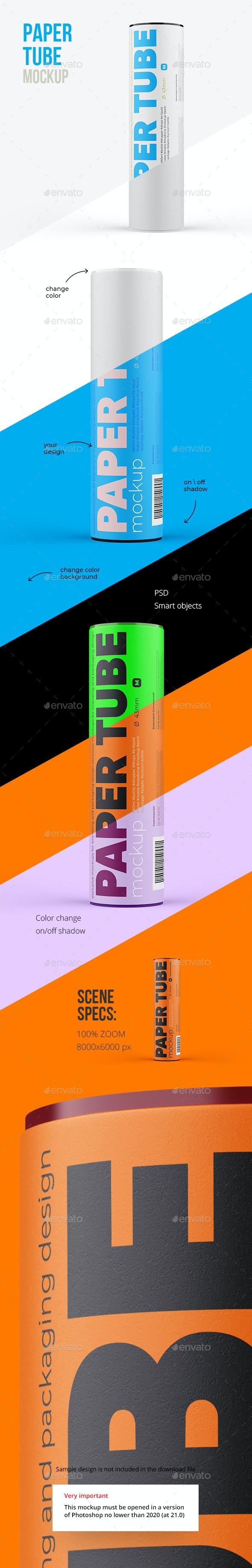 Paper Tube Mockup 43x152mm - Packaging Product Mock-Ups