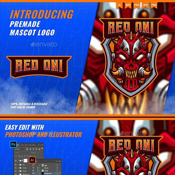 Red Oni - Mascot Esport Logo Template