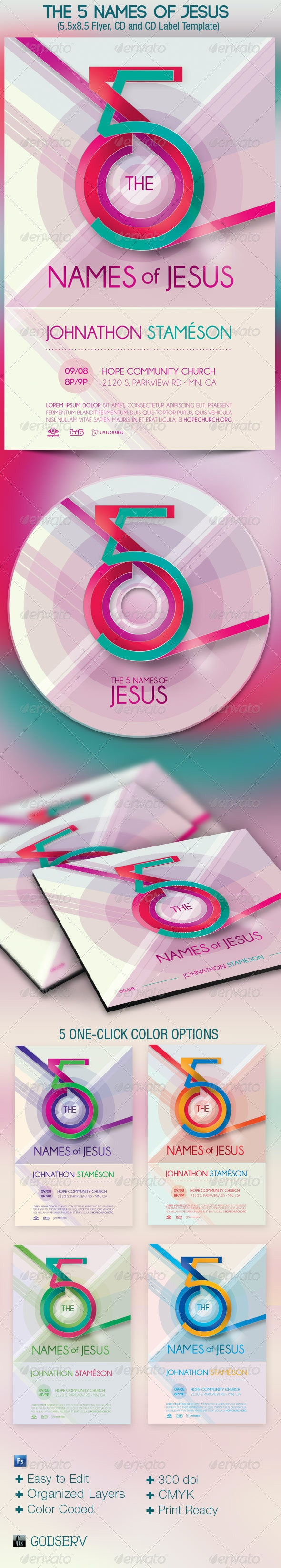 Jesus Names Church Flyer CD Template - Church Flyers