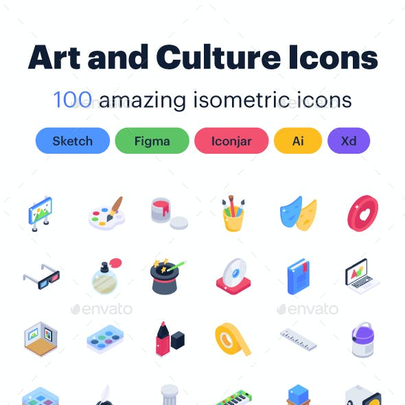 100 Isometric Art and Culture Icons