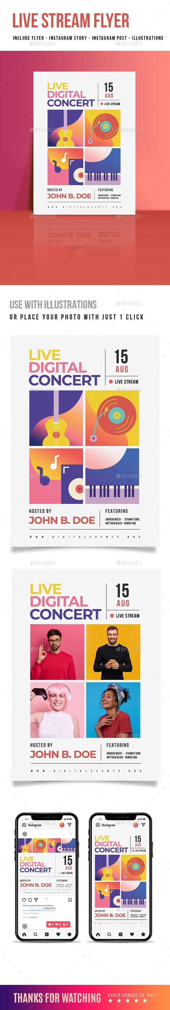 Live Digital Music Flyer - Concerts Events