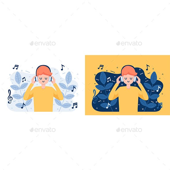 Man in Headphones Listening and Enjoying Music