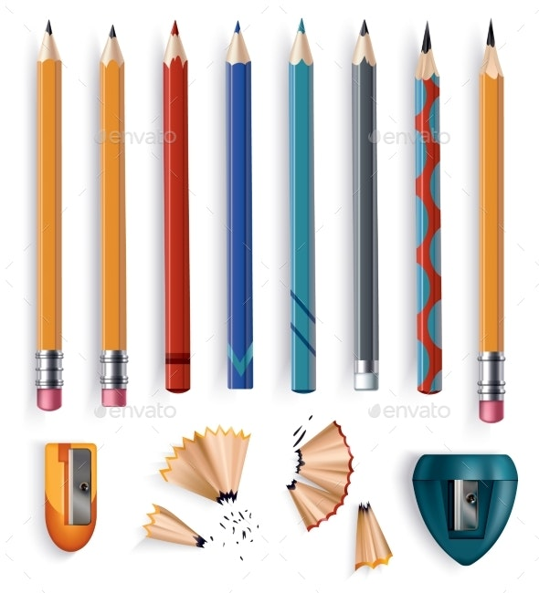 Sharpened Wooden Pencil with Rubber Eraser  - Objects Vectors
