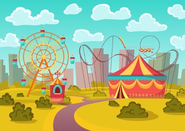 Amusement Park Attractions with Merrygoround - Buildings Objects