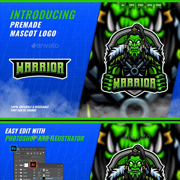Orc Knight - Mascot Esport Logo Template