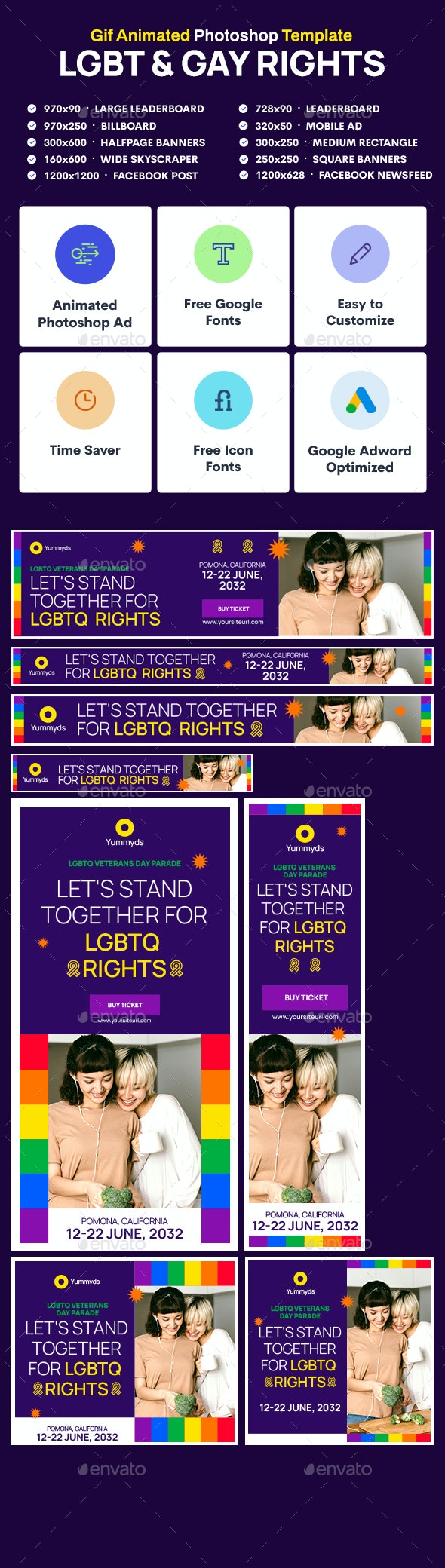 GIF Banners - LGBT & Gay Rights Banners Ad - Banners & Ads Web Elements