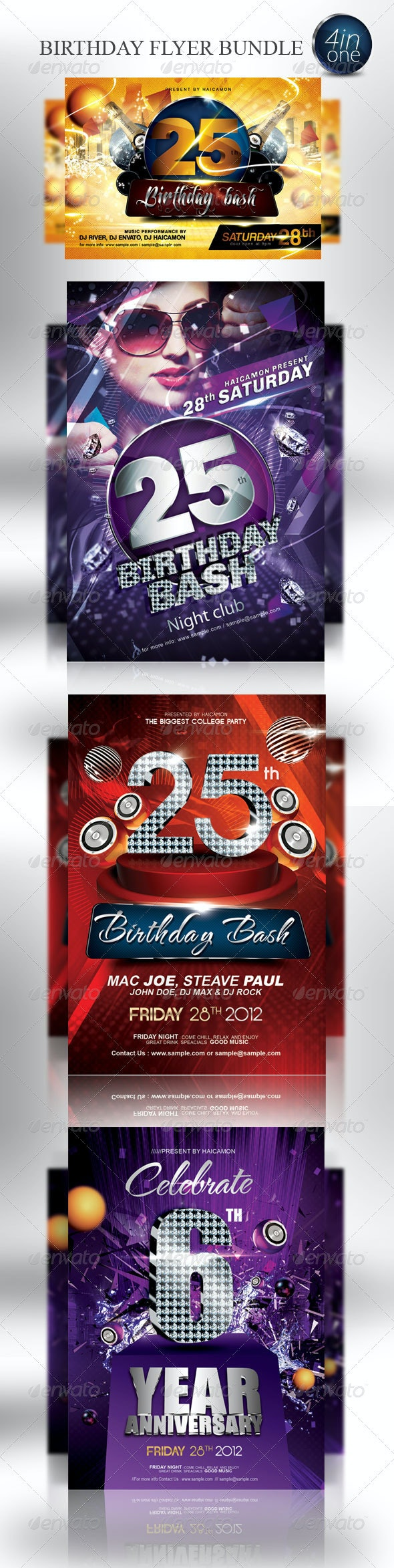 Birthday Party Invitation Flyer Bundle - Clubs & Parties Events