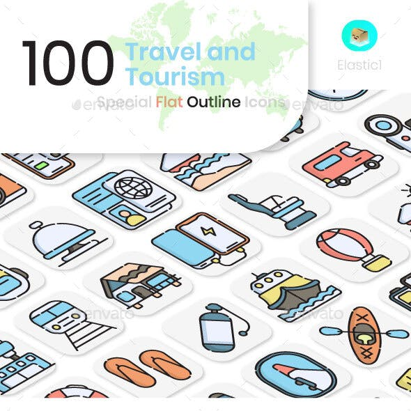 Travel and Tourism Flat Outline Icons