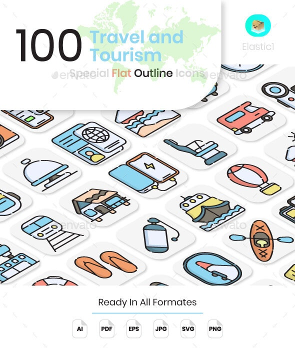 Travel and Tourism Flat Outline Icons - Objects Icons