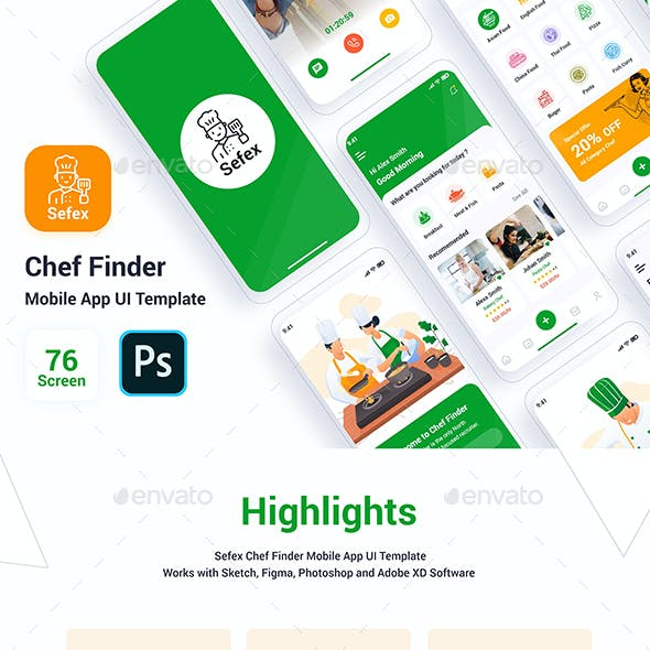 Sefex - Chef Finder Mobile App UI Template