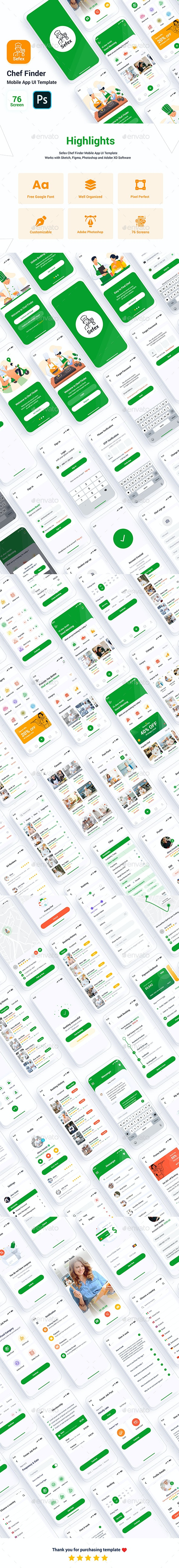 Sefex - Chef Finder Mobile App UI Template - User Interfaces Web Elements